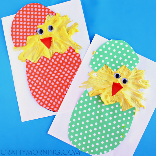 Hatching puffy paint chicks easter craft crafty morning - Manualidades de pascua ...