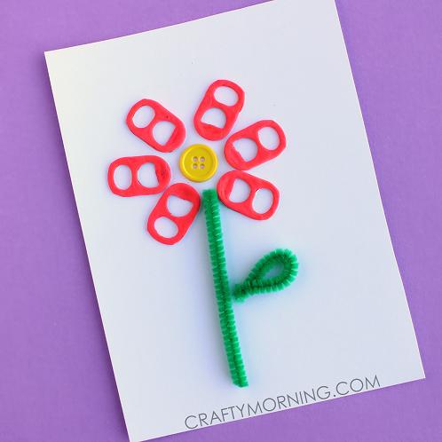 Soda Pop Tab Flower Card/Craft Idea