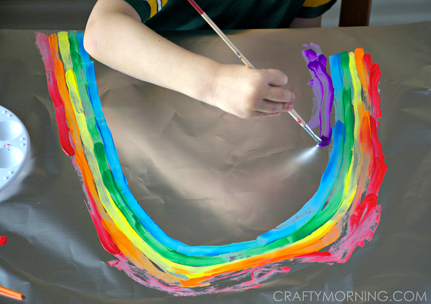 rainbow tin foil painting craft for kids - Painting Pics For Kids