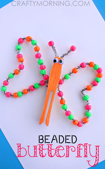 Neon Beaded Butterfly Craft For Kids Crafty Morning