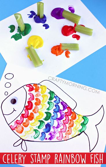 Rainbow fish crafts for kids celery stamping x3cb x3erainbow fish