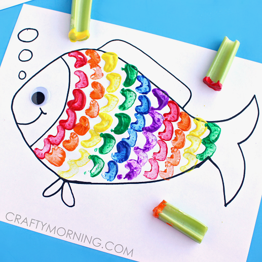 Rainbow Fish Craft for Kids Celery Stamping : 箸袋 作り方 紙 : すべての講義