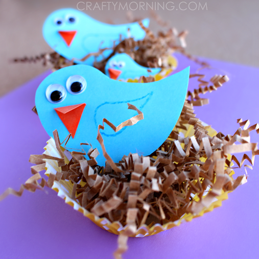 Blue bird craft with cupcake liner nests crafty morning for Baby bird nest craft