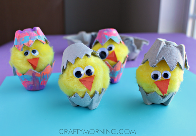 Egg carton hatching chicks kids craft crafty morning