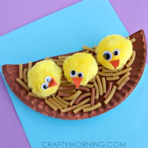 Pom Pom Chicks in a Noodle Nest Craft
