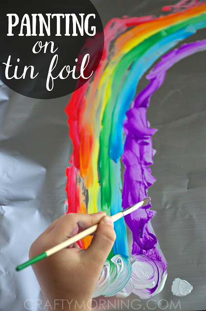 Painting on aluminum foil kids art activity crafty morning for Aluminium foil art and craft