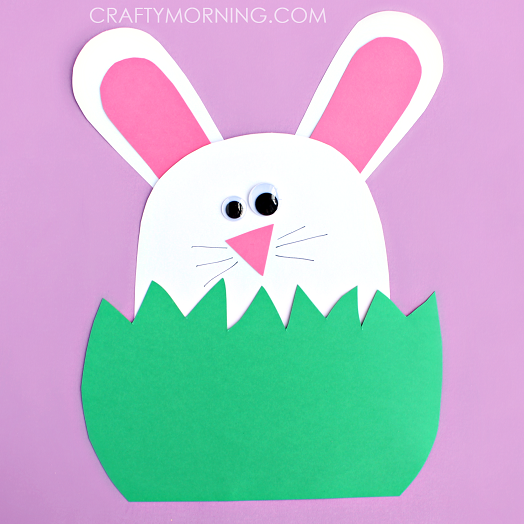 Paper Bunny Hiding In The Grass Craft Crafty Morning