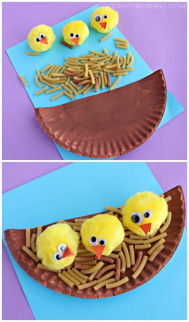 paper-plate-noodle-nest-pom-pom-chicks-craft-for-kids