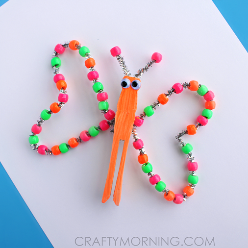 neon beaded butterfly craft for kids crafty morning ForBead Craft Ideas For Kids