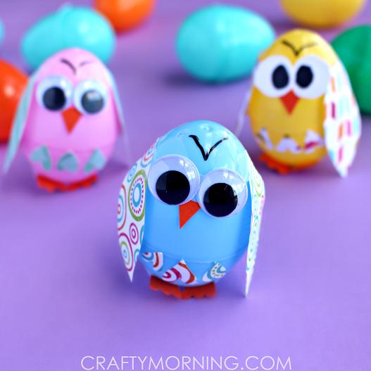 Plastic Easter Egg Owl Craft for Kids