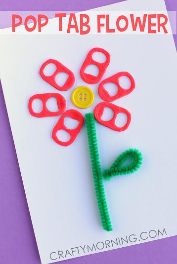 soda pop tab flower card  craft idea