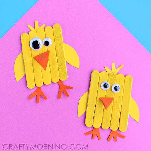 Popsicle Stick Chick Easter Craft For Kids