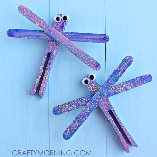 Popsicle stick dragonfly spring craft for kids crafty for How to make popsicle stick crafts