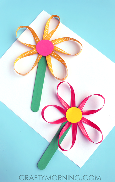ribbon-flower-stick-spring-craft-for-kids-