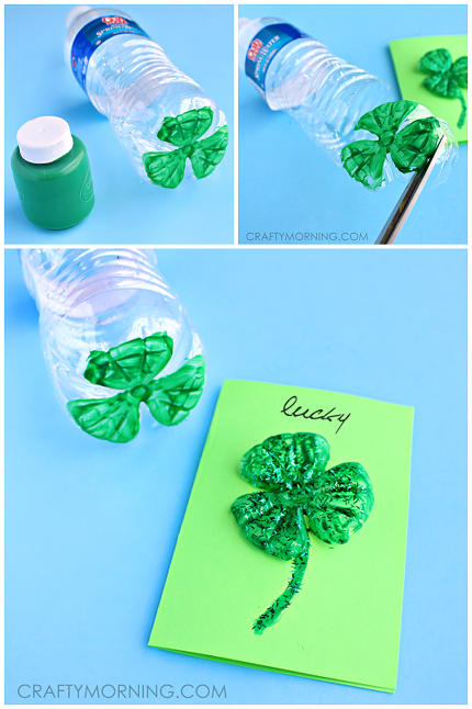 craft ideas using water bottles plastic water bottle 3 leaf clover cards crafty morning 6316