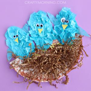 Tissue Paper Blue Birds in a Nest
