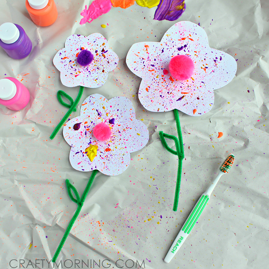 Splatter Flower Craft Using A Toothbrush Crafty Morning