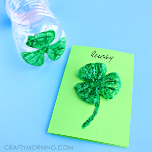 Plastic Water Bottle 3 Leaf Clover Cards