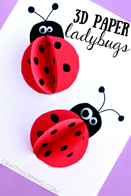 3d paper ladybug craft for kids crafty morning