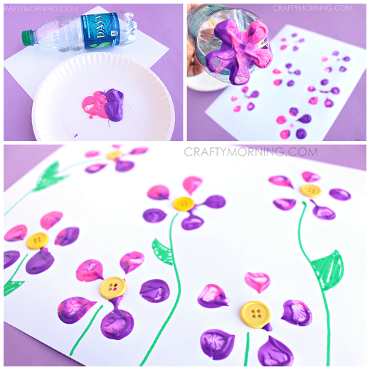 bottle print button flower craft for kids - Print For Kids
