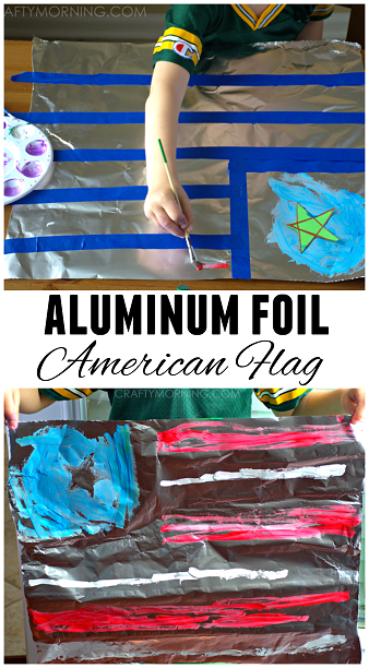 fun-aluminum-foil-american-flag-4th-of-july-kids-craft