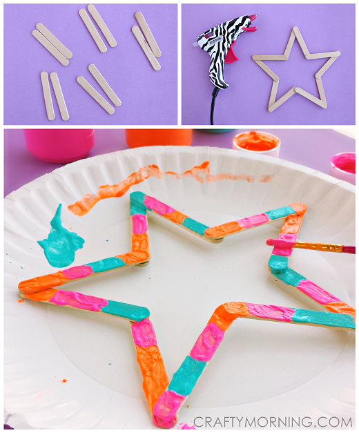 Mini Popsicle Stick Stars Kids Craft