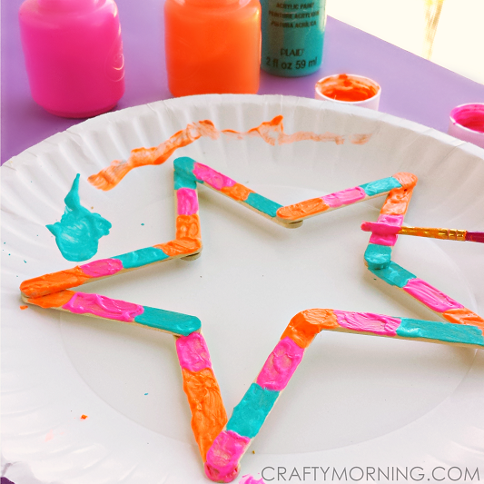 Mini Popsicle Stick Stars Kids Craft