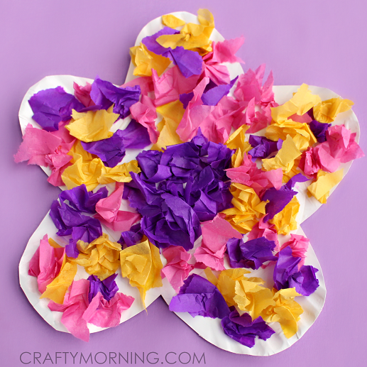 Paper plate flower craft using tissue paper crafty morning paper plate tissue paper flower craft for kids mightylinksfo