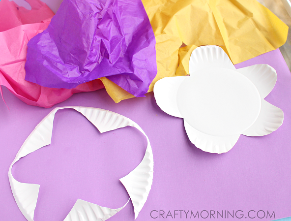 Paper plate flower craft using tissue paper crafty morning paper plate tissue paper flower kids craft mightylinksfo