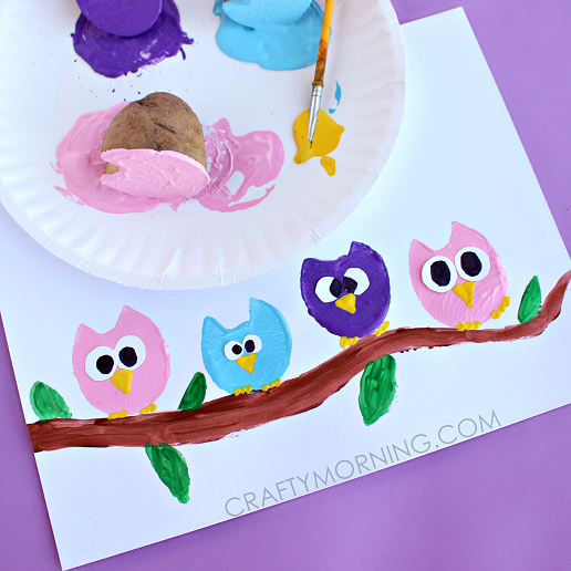 potato print owl craft for kids - Print For Kids