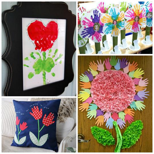 Handprint flower craft ideas for kids crafty morning for Make flower craft ideas