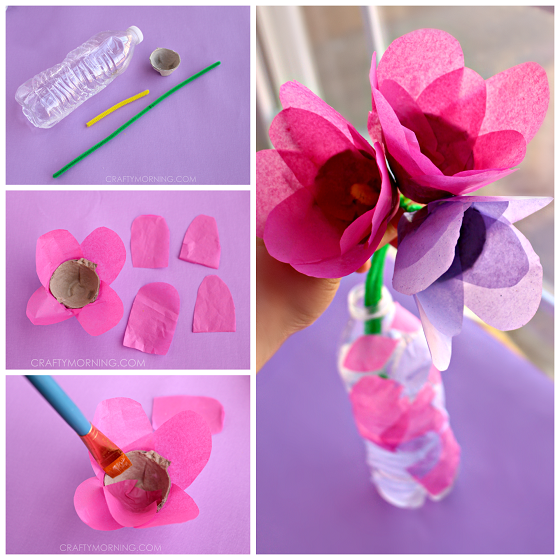 Tissue Paper Egg Carton Tulip Craft For Kids