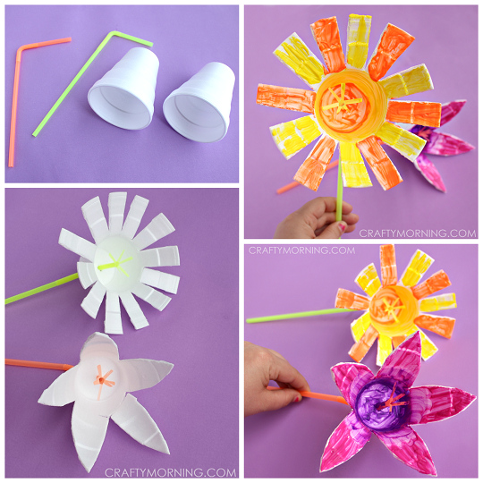 Styrofoam Cup Flower Craft For Kids