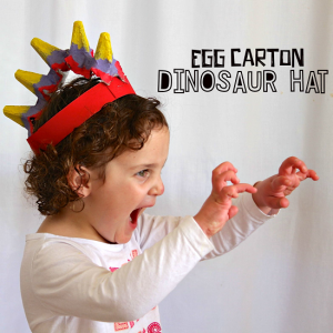 Egg Carton Dinosaur Hat Craft for Kids