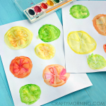 Glue & Watercolor Fruit Slice Kids Craft