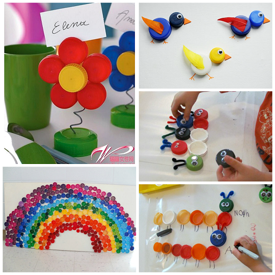 Plastic bottle cap lid crafts for kids crafty morning for Water bottle cap crafts