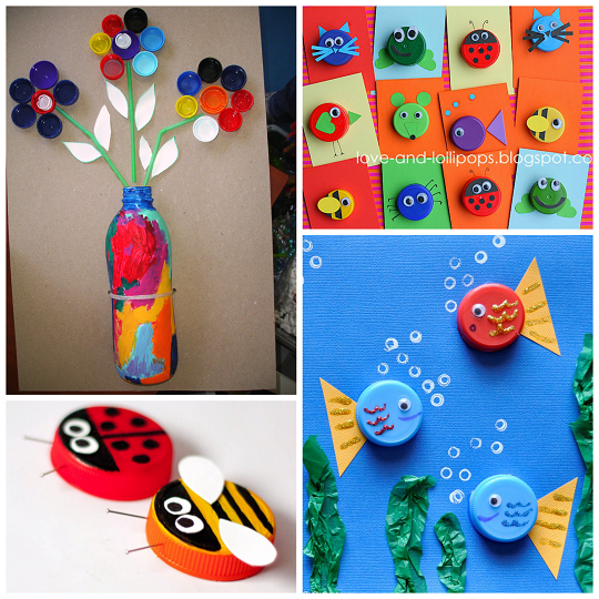 Plastic Bottle Cap Lid Crafts For Kids