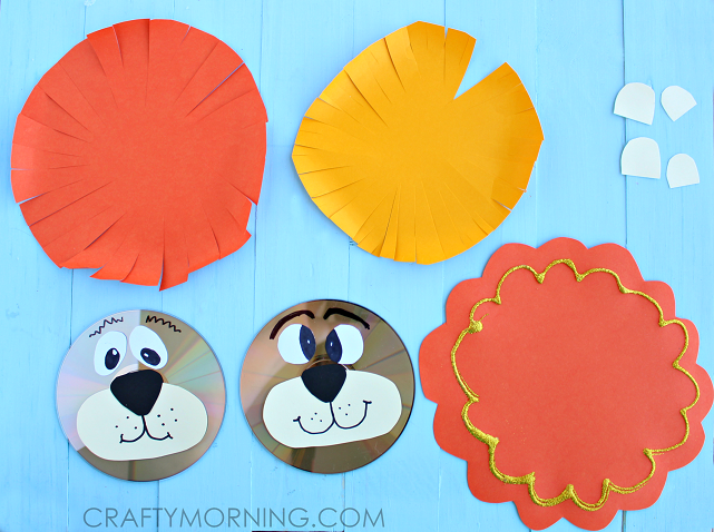 recycled-cd-lion-craft-for-kids