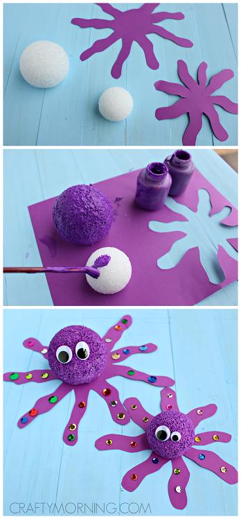 foam ball octopus craft for kids