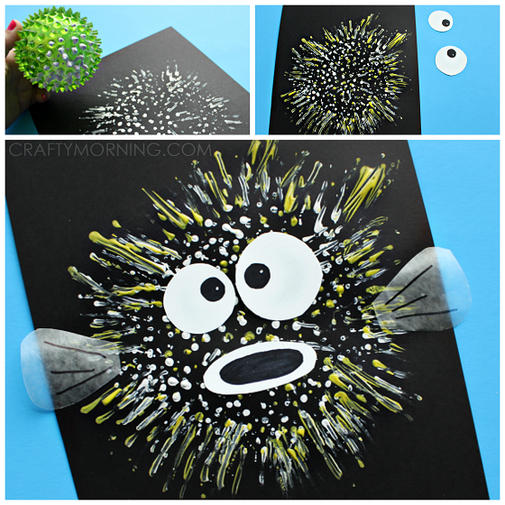 Bouncy ball stamped pufferfish kids craft crafty morning for Puffer fish art