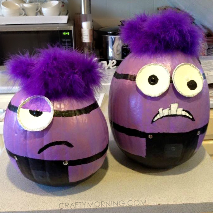 no carve evil minion pumpkins for halloween - Halloween Pumpkin Designs Without Carving