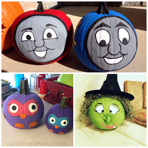 Clever no carve painted pumpkin ideas for kids crafty for Thomas pumpkin template