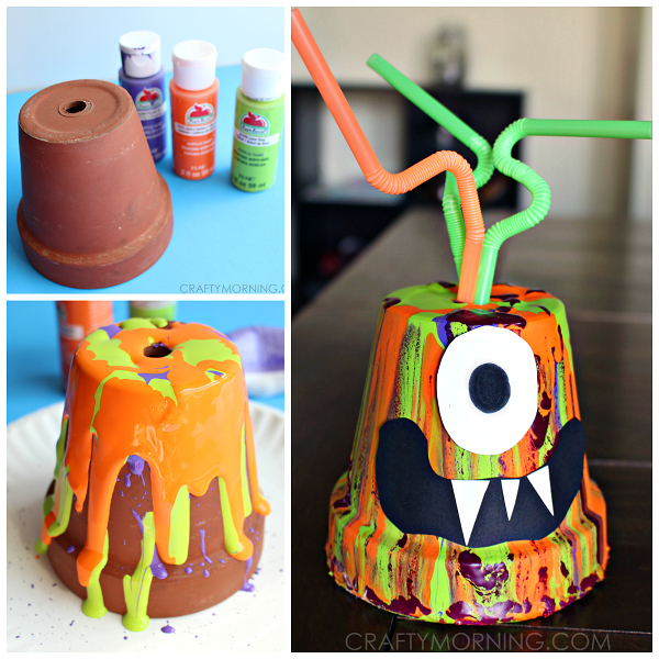 Halloween Crafts And Decorations: Paint Drip Monster Pots (Kids Halloween Craft)