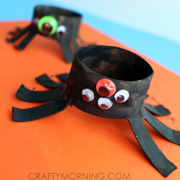Two toilet paper roll spider crafts for kids crafty morning for Fun crafts with toilet paper rolls