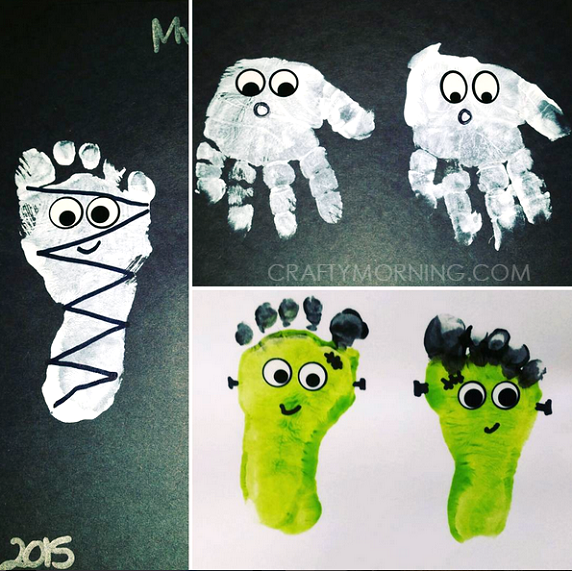 footprint halloween kids crafts - Preschool Crafts For Halloween