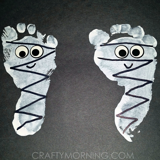 footprint mummies halloween kids craft - Halloween Mummy Crafts