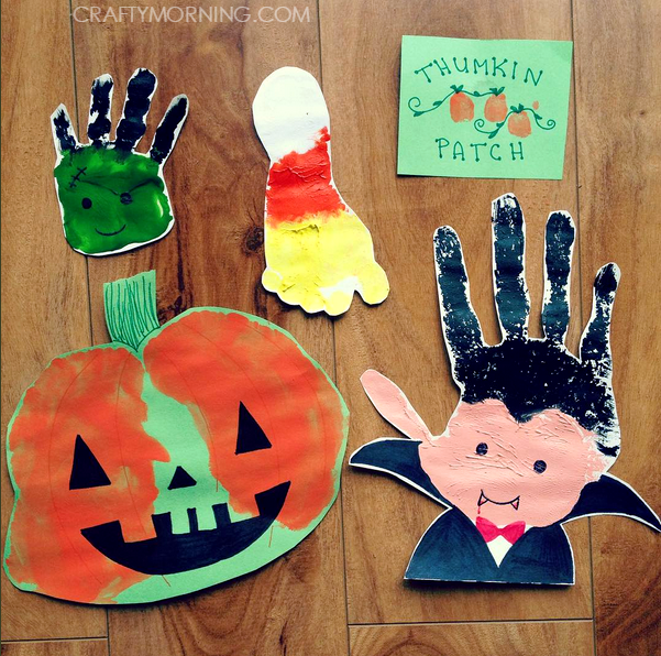 halloween footprint handprint crafts for kids