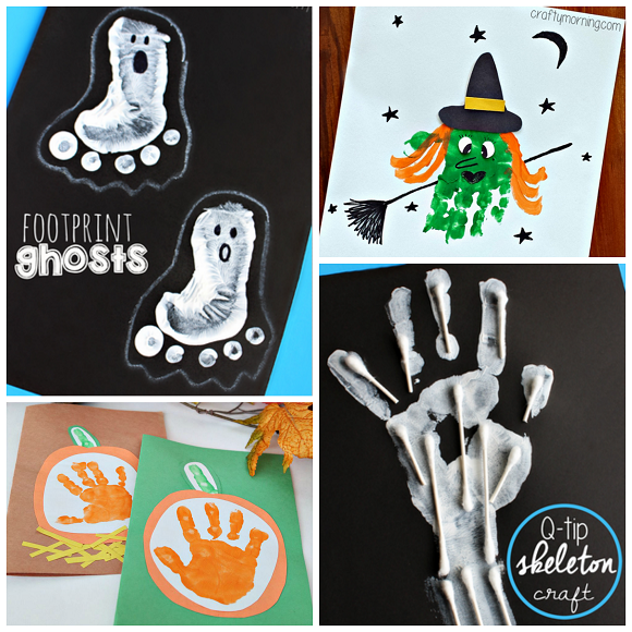 Adorable handprint footprint halloween crafts crafty morning for Hand and feet painting ideas