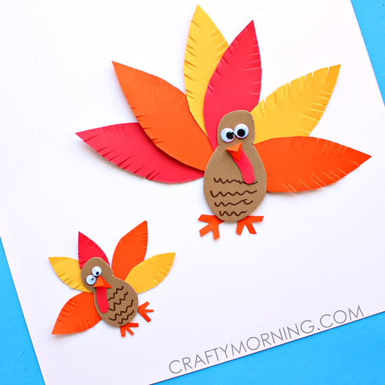 Simple paper turkey craft for kids crafty morning for Thanksgiving turkey arts and crafts