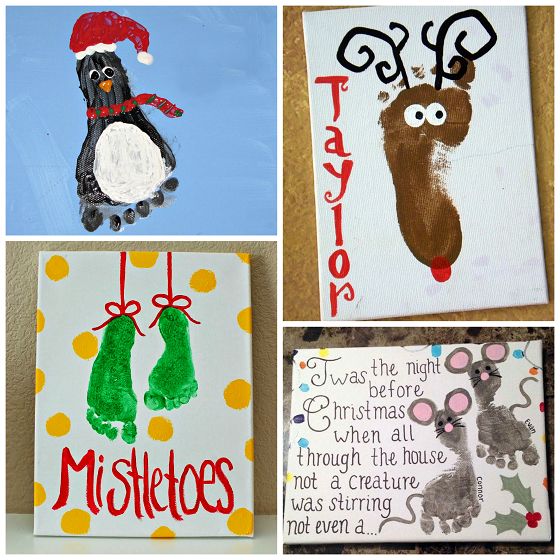 footprint christmas crafts for kids - Footprint Christmas Crafts